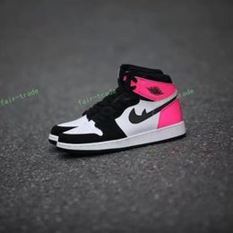 Wholesale Soccer Shoes Gs - 2017 Retro 1 GS Valentines Day Black White Pink Women Basketball Shoes Fashion Retros 1s OG Girl Sports Sneakers Trainers Size 5.5-8.5