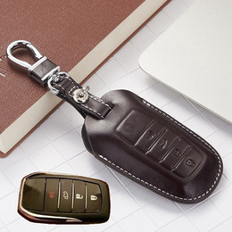 Wholesale Toyota Key Holders - Leather Key Fob Cover Case For 2016 Toyota Kijang Innova Fortuner SW4 2017 Accessories Camry Corolla Cruiser Prado Key Holder Chain Bag