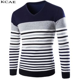 Wholesale Mens Wool Sweater Xxl - Wholesale- 3 Colors cotton sweaters men V neck mens sweaters pullover autumn winter XXL knitwear dress male 2016