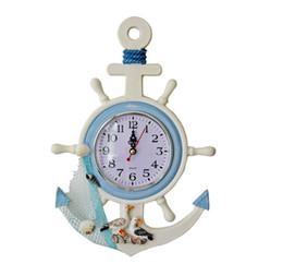 Wholesale Zakka Resin - Wholesale- 2016 Free Shipping Zakka Home decoration Mediterranean Sea gull wall clock electronic quartz for Restaurant
