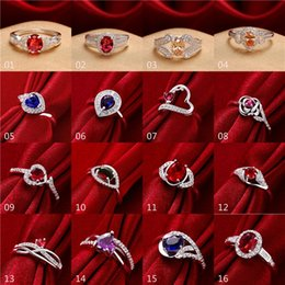 Wholesale Ordered Ring - 16pcs lot mixed order Fashion Rings 925 Sterling Silver Plated Sapphire Ruby CZ Stones Silver Ring for women #FR160-1