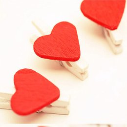 Wholesale Mini Red Wooden Pegs - New Fashion Mini Cute 50 Pieces Red Heart Wood Clips Photo Paper Peg Home School Office Party Decorations Wooden Clip Free Shipping