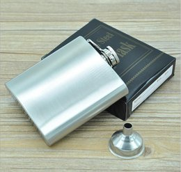 Wholesale 6oz Flask Funnel - 6 oz Stainless Steel Hip Flask With Funnel Alcohol Mini Small Pocket Liquor Flask Male Whiskey Wine Metal Shot Bottles Gift Set ZA1409