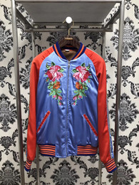 Wholesale long cooler - Cool Jacket Men 2017 Fashion Embroidery red carp flower silk jacketS Long sleeve Mens Slim Jacket