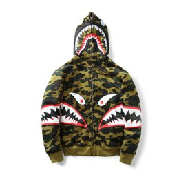 Wholesale Army Green Winter Jacket Men - New Men's Camouflage Shark Mouth Print Hoodie Plus Cashmere Sweater Men Women Hooded Autumn Winter Jacket