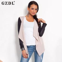 Wholesale Long Leather Cape - Wholesale- Autumn Women Long Sleeve Leather Cotton Patchwork Open Stitch Casual Cardigan Coat Outwear Blouse Cape Top Jacket Plus Size 2235