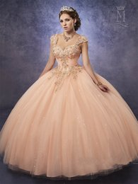 Wholesale Detachable Quinceanera Dress Gown - Sparkling Tulle Quinceanera Dresses 2017 Mary's with Detachable Straps and Basque Waist Peach Sweet 16 Dress Lace Up Back