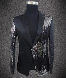 Wholesale Dj Jacket - Wholesale- Plus size sequins blazer male singer DJ formal dress the groom paillette costume Wedding Slim Fit Groom jacket For Men