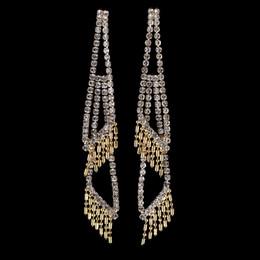 Wholesale Gold Chandelier Earrings For Bridal - Exclusive Gold Tone Rhinestone Drop Earrings Wedding Bridal Jewelry Accessories Top Quality Dangle Tassel Chandelier Earring for Women E5110