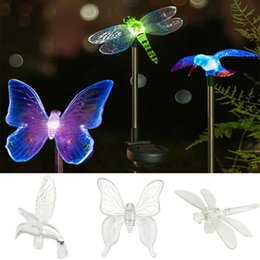 Wholesale Led Solar Butterfly Lights - Wholesale- New Butterfly Dragonfly Solar Power LED Light Outdoor Garden Landscape Lamp DIY Home Lights Decoration