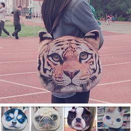 Wholesale Dog Poodles - 3D Dog Face Shoulder Bags Double Side Animal Head Tiger Peking Poodle Fashion Women Handbags Puppy Single Shoulder Bags Satchel