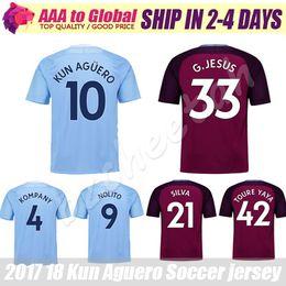 Wholesale Short Jesus - Kun Aguero Soccer Jersey 2018 Purple City jersey KOMPANY TOURE YAYA DE BRUYNE STERLING SILVA JESUS 17 18 Man football shirts
