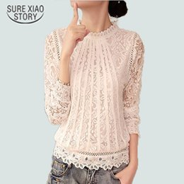 Wholesale White Puff Sleeve Blouse Chiffon - New Summer Ladies White Blusas Women's Long Sleeve Chiffon Lace Crochet Tops Blouses Women Clothing Feminine Blouse 51C