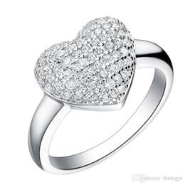 Wholesale Micro Pave Diamond Engagement Ring - Wedding Women's Luxury Jewelry Silver Micro Pave CZ Diamond Ring Engagement Heart Rings Zirconia Anillos J070