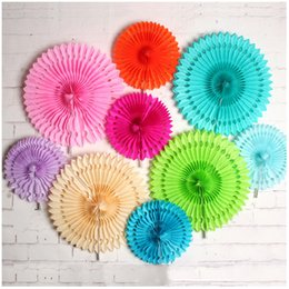 "Wholesale diy paper fan - New Paper Flowers for Decorations 8"" 12""16"" Hollow out Tissue Paper Fan Flower Wedding Birthday Party Holiday Marriage Home DIY Paper Decor"