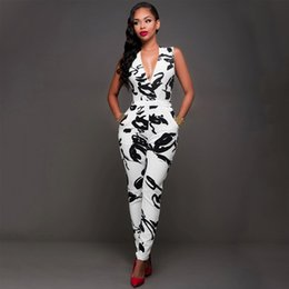 Wholesale Sexy Jumpsuit Cocktail - Wholesale- Sexy Women Cocktail Evening Party V Neck Sleeveless Jumpsuit Romper Slim Black and white Ink Abstract Pants Pocket Playsuit