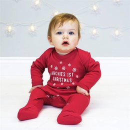 Wholesale Wholesale Red Baby Socks - INS Newborn Baby Clothing Boys Girls Red Letter Long Sleeve Romper Even Socks My First Christmas Romper