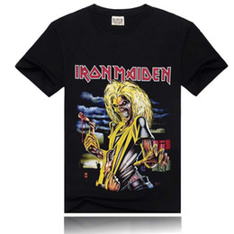 Wholesale Iron T Shirt Men - Wholesale Iron Maiden Printing New Men T-shirt Rock Band More Colors Fashion Sports T-shirt Black Size