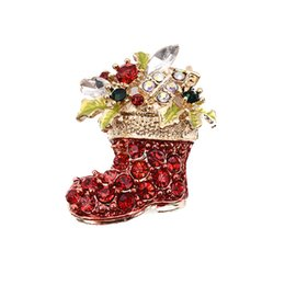 Wholesale Wholesale Trendy Crystal Shoes - Super Trendy Jewelry Brooch Cartoon Diamond Rhinestone Crystal Tree Leaf Christmas Boots Shoe Brooch Pin Corsage
