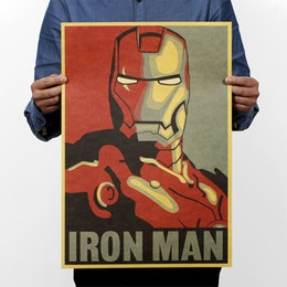 Wholesale Decorative Walls Sticker - Iron Man Comic Avatar Poster Rock Poster Kraft Paper Bar Decorative Painting Retro Paper 51x35cm High Quality