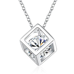 Wholesale Cube Link - White Gold Plated Cube Square Cubic Zirconia Diamond Pendant Necklace Swarovski Elements Jewelry For Women Wedding Jewelry