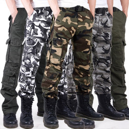 Wholesale Outdoor Jeans - Luxury Men's Multi Pocket Military Jeans Casual Training Plus Size Cotton Breathable Army Camouflage Cargo Pants Outdoor Sports Casual Pants