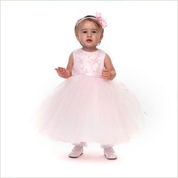 Wholesale Tulle Gowns For Sale - Discount Pink Ball Gown Jewel Sleeveless Tulle Flower Girls Dresses with Appliques FLD064 Girls Pageant dresses for sale