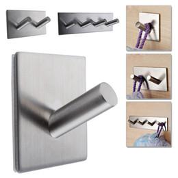 2019 кухонные стеллажи Wholesale- 304 Stainless Steel Self Adhesive Hook Key Rack Bathroom Kitchen Towel Hanger Wall Mount скидка кухонные стеллажи