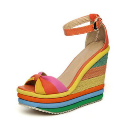 Wholesale Rainbow Sandals Shoes - Rainbow Color Woman Sandals Platform Wedge Heel Bohemia Casual Summer Peep Toe Buckle Shoes Woman Big Size