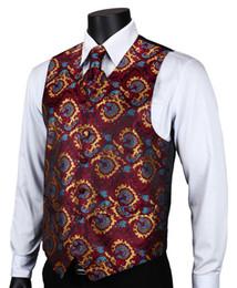 Wholesale Suit Vest Cravat - Wholesale- VE17 Burgundy Blue Paisley Top Design Wedding Men 100% Silk Waistcoat Vest Pocket Square Cufflinks Cravat Set for Suit Tuxedo