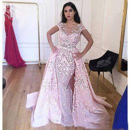 Wholesale Floral Embroidery Short Prom Dresses - Arabic Kaftan Muslim Pink Prom Dresses 3D Floral Beads V Neck Short Sleeves Mermaid Evening Bridal Gowns 2017 Dubai Abendkleider