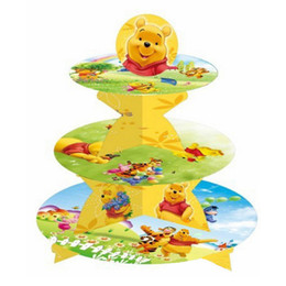 Wholesale Wholesale Cake Tier Stand Holders - Wholesale-1set Winnie Pooh 3-tier cake stand cupcake holder kids birthday party supplies baby shower party favor decor cupcake stand