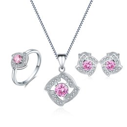 Wholesale Sterling Silver Korean Style Earrings - Lovely Korean Style Pink Necklace Sets 925 Sterling Silver Ring Cubic Zirconia Earrings Fashion Jewelry For Girl