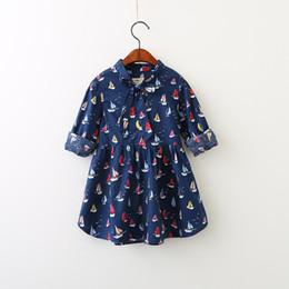 Wholesale Wholesale Sail Boats - Girls Flower Dresses Baby Girls Printed Sail Dress Kids Girls Fashion Bow Dress 2017 Babies Autumn Clothing