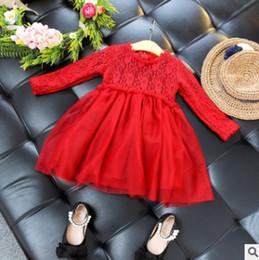 Wholesale Thick Tutu - Christmas Girls Dresses Winter Lace dress with tutu dress Children Party Dresses Tulle Plus Thick Kids Princess Dress C1723