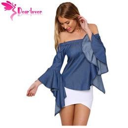 Wholesale Denim Tube - DearLover women slash neck blouse femininas 2016 Jeans Shirts OL Denim Off-shoulder Autumn Bell Sleeve Top Tube Hot Sell LC25887