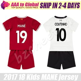 Wholesale Best Boys - Kids Mane jersey 2017-18 Child Coutinho Salah Lallana Henderson white Soocer Jersey kits 2018 best quality young Firmino Soccer Sets