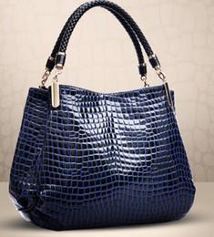 Wholesale Wholesale Navy Leather Handbag - bolso snake soft skin leather European designer navy red casual handbag shoulder bag