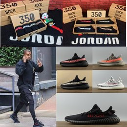 Wholesale Cut Out Buckle Boots - Original Box Kanye West Boost 350 V2 Running Shoes for Men SPLY-350 men's Shoes Boots Sports Shoes Sneakers with Socks and Key buckle