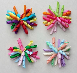 Wholesale Rainbow Bow Tie - 20pcs baby girls 3inch rainbow curlers Corker flowers bows hair clip hair ties korker ribbon hair bobbles elastic rope PD007