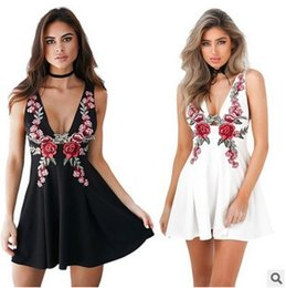 Wholesale Ladies Skater Dresses - Womens Ladies Floral Rose Embroidered V Neck Sleeveless Swing Mini Skater Dress