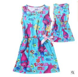 Wholesale Baby Dresses For Beach - Girls Dresse Kids Clothing Trolls Poppy Baby Clothes Girls Sleeveless Beach Dress kids Clothing Trolls For Baby Dress With Cute Bow Trolls