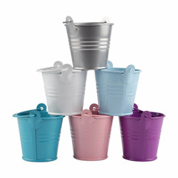Wholesale White Wedding Pails - 12pcs Wedding Favors and Gifts Candy Box Metal Mini Tin Bucket Gift bags with Handles Wedding Decoration Event Party Supplies