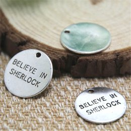Wholesale charm discs - 20pcs- believe in sherlock Charms Silver tone disc believe in sherlock Charms penant 20mm