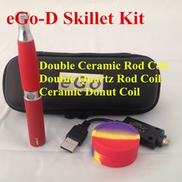 Wholesale Ego Ve Kit - quartz dual coil ego-d skillet vaporizer pen kit with ego-t 650mah battery cloud wax vape pen portable skillet 510 e pen wax vaporizer