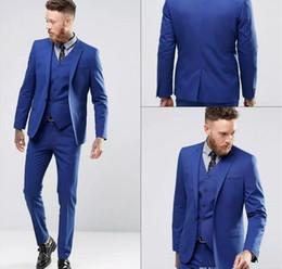 Wholesale Handsome Black Men Suits - Blue Color Gentle Man Tuxedo Suits Real Image Handsome Groom Suits One Button Slim Fit Wedding Suit For Men (Jacket+Pants+Vest)