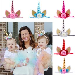 Wholesale Deco Kids - 15inch Baby Girls Unicorn Headbands with flower deco Girls Hair Sticks Kids Hairpins Barrettes Kids Hair Accessories Beautiful