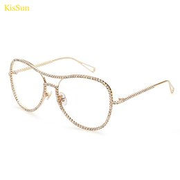 Wholesale Decorative Glass Diamonds - Wholesale- 147mm Oversize Rhinestones Decorative Transparent Glasses Frame Diamond Eyeglass Frame Glasses Transparent Glasses Women Gold