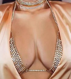 Wholesale Costume Jewelry Gold Chains - New High Quality Women Statement Jewelry Hollow Body Chain Women Sexy Multilayer Rhinestone Bikini Bra Chains Beach Costume Accessories