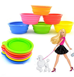 Wholesale Feeding Cats Dog Food - Fashion Environmental Dogs Cats Pets bowls Travel Feeding Food Pop-UP Collapsible bowl Plastic Silicone Folding Portable Bowls Feeder IA032